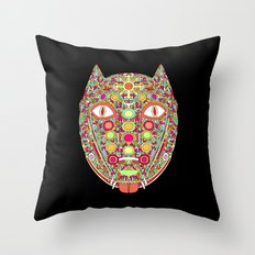 Demonic Dog Wolf Fox Throw Pillow