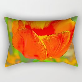 Etched Red Tulip Rectangular Pillow