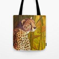 cheetah Tote Bags featuring Cheetah by Michelle Behar