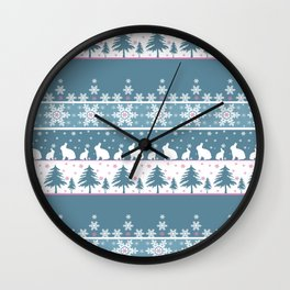Retro .Christmas . Wall Clock