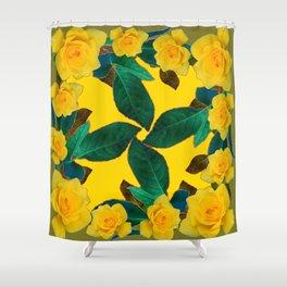 GREEN LEAF ART & YELLOW ROSE FLOWERS  DESIGN Shower Curtain