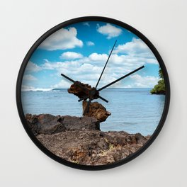 Stacked Rocks with ocean background  Wall Clock