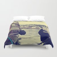 sailing Duvet Covers featuring sailing by gzm_guvenc