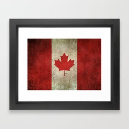 Old and Worn Distressed Vintage Flag of Canada Framed Art Print