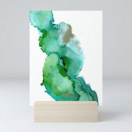 Alcohol Ink on yupo - Greens and Gold Mini Art Print