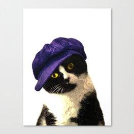 Cat Blue Hat Canvas Print