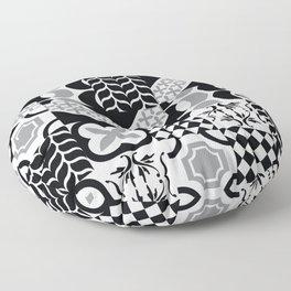 Black & White Mixed Square Tiles Patterns Floor Pillow