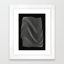 Minimal curves black Framed Art Print