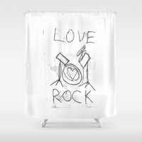 drums Shower Curtains featuring Love Rock Drums by Louise Court