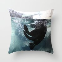 otter Throw Pillows featuring Otter by RMK Photography