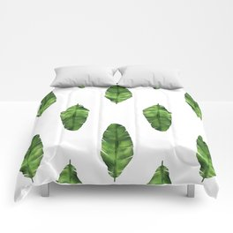 Banana leaf. Watercolor Illustration. Comforters
