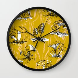 outside in the forest: mushrooms and grasses Wall Clock