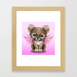 Cheetah Cub with Fairy Wings Wearing Glasses on Pink Framed Art Print