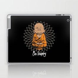 Be Happy Little Buddha Black Laptop & iPad Skin