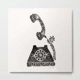 Vintage Rotary Phone – Black Palette Metal Print