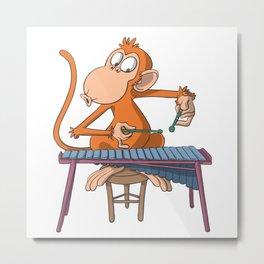 Monkey plays marimba xylophone Metal Print