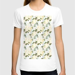 Ivory white yellow forest green watercolor floral pattern T-shirt