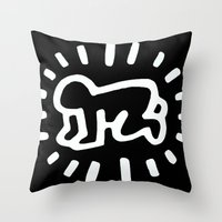 keith haring Throw Pillows featuring Keith Haring: Radiant Baby from Icons series, 1990 by cvrcak