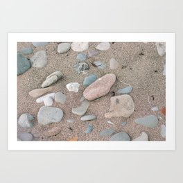 Stones and Sea Glass on the Beach | Pastel Pattern Photography Art Print
