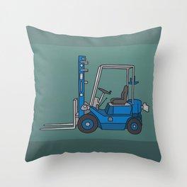 Blue fork-lift truck Throw Pillow