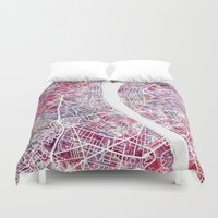budapest Duvet Covers featuring Budapest map by MapMapMaps.Watercolors