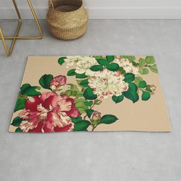 Vintage Japanese Camellias. Deep Pink on Beige Rug