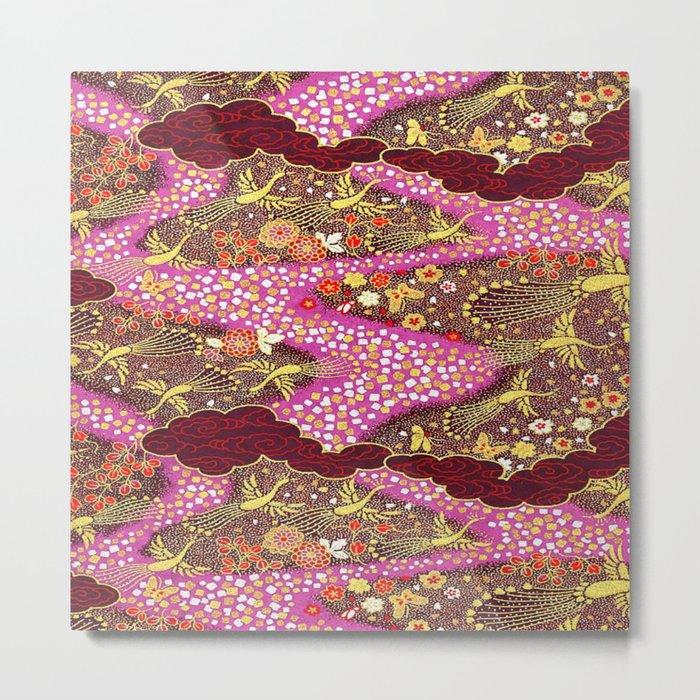 Intricate Yuzen Pattern Metal Print