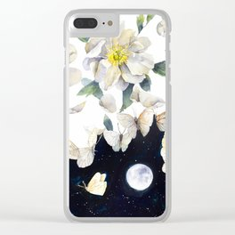 Peony and Butterflies Surreal Painting Clear iPhone Case