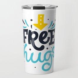 FREE HUGS. Bright lettering. Travel Mug