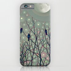 A Dawning with black birds lights on bare branches stars and gibbous moon  iPhone 6 Slim Case