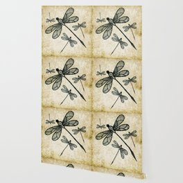 Dragonflies on tan texture Wallpaper