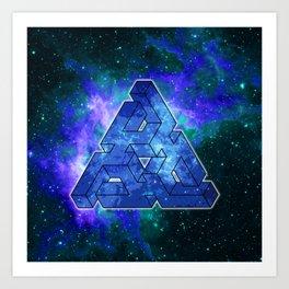 Triangle Blue Space With Nebula Art Print