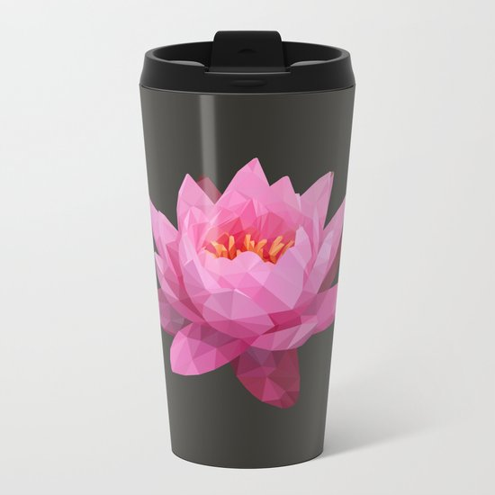 Pink Lotus Flower  Metal Travel Mug