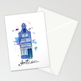 Amsterdam House Watercolor Illustration Stationery Cards