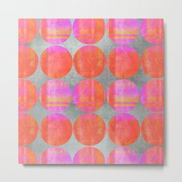 orange dots grunge mixed media modern pattern Metal Print