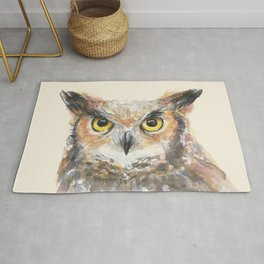 Owl Watercolor Great Horned Owl Painting Rug