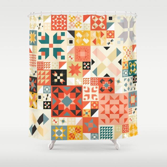 Modern Quilt Pattern Shower Curtain