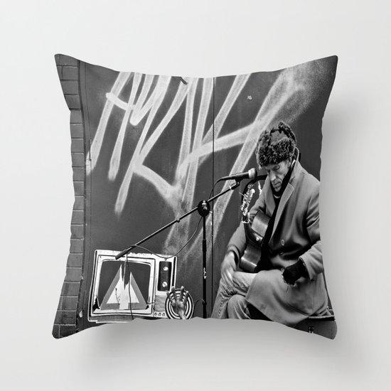 Busking in Belfast 2 Throw Pillow