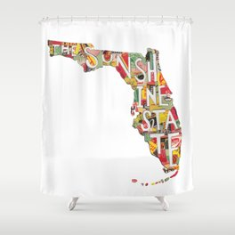Florida: The Sunshine State - Vintage Collage Shower Curtain