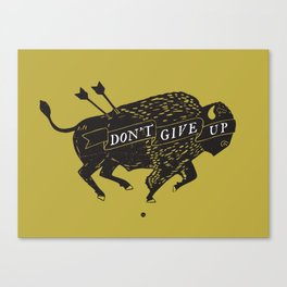 Don't Give Up - Bison - Black and Gold Canvas Print