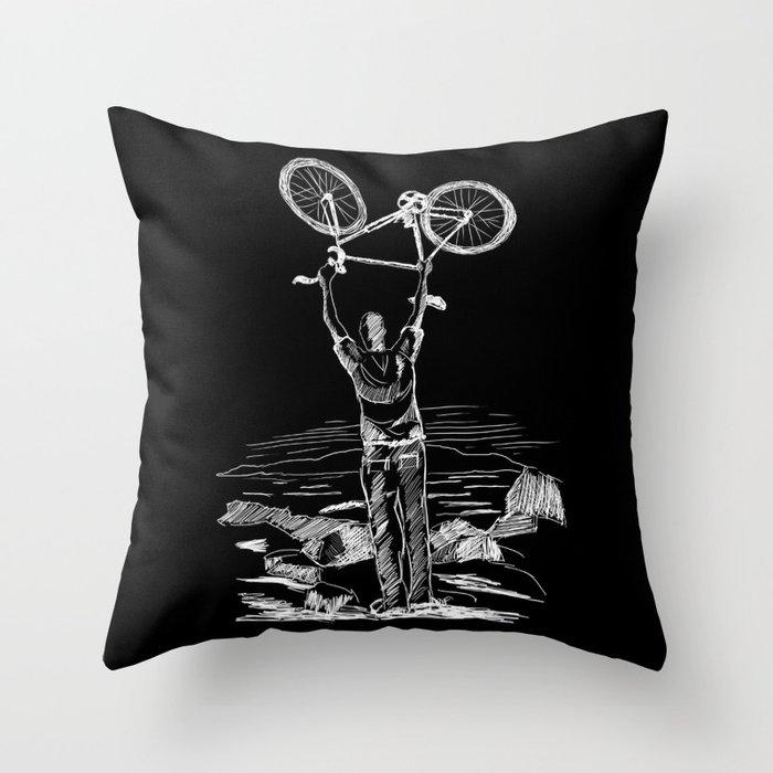 Bike Contemplation Throw Pillow