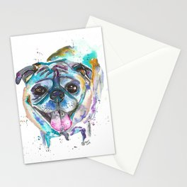HD the Pug Watercolor Stationery Cards