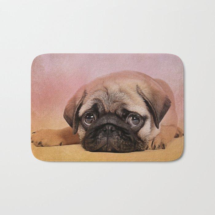 Pug puppy  Digital Art Bath Mat