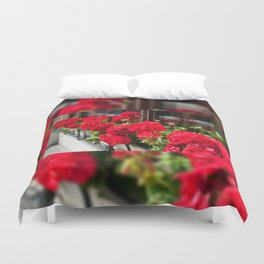 Bunches of vibrant red Pelargonium Duvet Cover