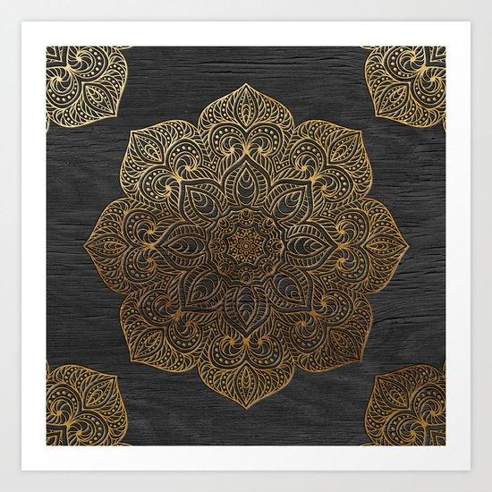 Wood Mandala - Gold Art Print