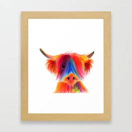 Scottish Highland Cow ' PANCAKE ' by Shirley MacArthur Framed Art Print