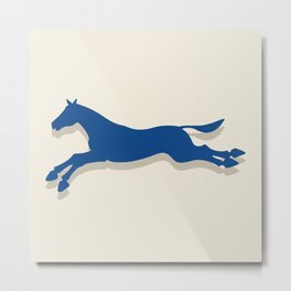 Tritty Trotter Navy and Cream Metal Print