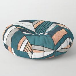 Abstract Chevron Pattern - Copper, Marble, and Blue Concrete Floor Pillow