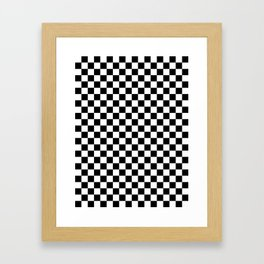 White and Black Checkerboard Framed Art Print