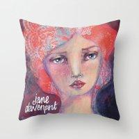jane davenport Throw Pillows featuring Folie by Jane Davenport ( with logo) by Jane Davenport
